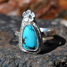 Turquoise Ring - Genuine Turquoise Ring - Flower Ring - Sterling Silver Ring - Artisan Jewelry - Southwestern Ring - Size 6.5 Ring by EarthsBountyGems on Etsy