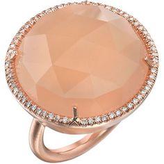 Irene Neuwirth Peach Moonstone & Diamond Ring