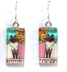 Himalayan Cat Earrings... Chocolate Point Kitties by SusanFayePetProjects, $18.00 #Cat #Jewelry