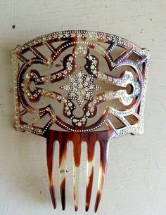 Antique Hair Comb Diamante Pearls Spanish by SophieSiennaVintage