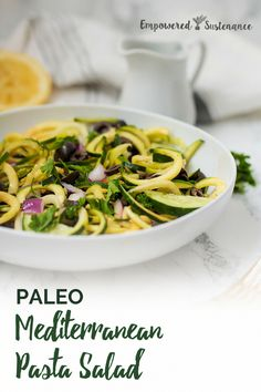 This paleo mediterranean pasta salad is grain free, dairy free, made from fresh vegetables, and is autoimmune protocol compliant. Lentil Recipes, Vegetable Recipes, Paleo Recipes, Real Food Recipes, Paleo Vegetables, Fresh Vegetables, Grain Free, Dairy Free, Paleo Pasta
