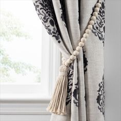Shop for Nomad Decorative Wooden Fringe Tassel Window Curtain Tieback. Get free delivery On EVERYTHING* Overstock - Your Online Home Decor Outlet Store! Macrame Curtain, Boho Curtains, Beaded Curtains, Window Curtains, Curtains With Tassels, Patterned Curtains, Curtains Living, Curtain Tie Backs Diy, Curtain Ties