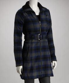Take a look at this Blue Plaid Zipper Belted Coat by Brave the Chill: Women's Outerwear on #zulily today!