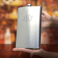A full half gallon of booze might not fit in your hip pocket, but it will definitely fit into this giant monogrammed flask.