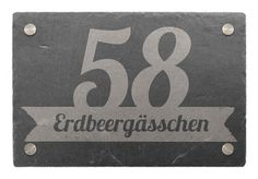 Hausnummer aus Schiefer Banner, Modern, Company Logo, Design, Decor, House Numbers, Shop Signs, Nice Asses, Picture Banner