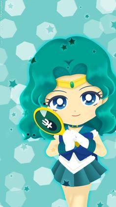 Drops In The Corner - Neptune by soapboxinggeek on DeviantArt Sailor Saturn Crystal, Sailor Neptune, Sailor Uranus, Sailor Moon Drops, Sailor Moon Stars, Sailor Scouts, Sailor Moon Cakes, Sailor Saturno, Chibi