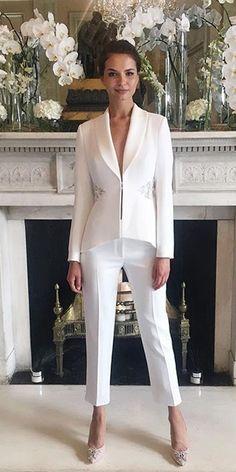 71840d11bcc Trend 2018: 27 Wedding Pantsuit & Jumpsuit Ideas ❤ short puffed pants  classic jacket