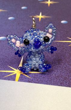 Miniature Japanese Seed Bead Disney Stitch from Lilo and Stitch Charm Doll