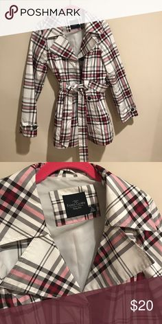 Faded glory rain coat Cute Burberry style print rain coat.  White with pink and black striped, silver button up and waist belt.  Brand is faded glory size is small 4-6.  Great condition Faded Glory Jackets & Coats Trench Coats