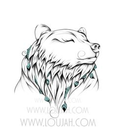 Poetic Bear by LouJah  #art #illustration #draw #drawing #doodle #boho #bohochic #bohostyle #wild #wildlife #bear #ours #feather #tattoo #animal