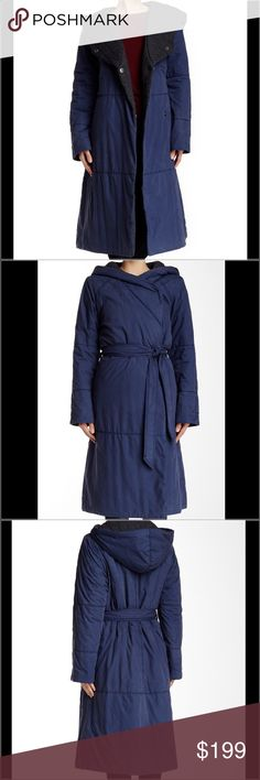 """Free People Blue Poplin Blanket Coat Details: An asymmetric hooded long coat with a self-tie belt wears like a cozy comforter. - Attached hood - Long sleeves - Front snap closure - Self-tie belt - 2 on-seam slash pockets - Lined - Approx. 45"""" length - Imported Fiber Content: Shell: 100% cotton Lining: 55% cotton, 35% polyester, 10% rayon Care: Dry clean Additional Info: Fit: this style fits true to size. Free People Jackets & Coats Puffers"""