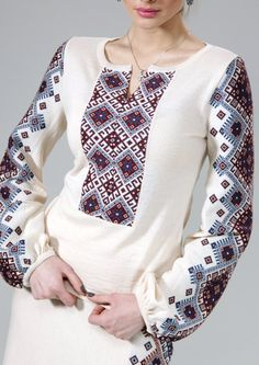 Ukraine, from Iryna Folk Fashion, Ethnic Fashion, Hijab Fashion, Fashion Dresses, Womens Fashion, Ukrainian Dress, Ethno Style, Mode Top, Embroidered Clothes