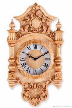 Часы для дома ручной работы. Ярмарка Мастеров - ручная работа. Купить Часы настенные. Handmade. Бежевый, часы, дерево Gold Wall Clock, Wall Clock Wooden, Wall Clock Design, Wood Clocks, Wooden Art, Antique Desk, Antique Clocks, Dremel Carving, Classic Clocks