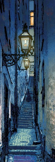 This Parisian alleyway reminds me of Owen Wilson's twisted trail in Midnight in Paris. Stairway To Heaven, Street Lamp, Stairways, Shades Of Blue, Art Photography, Blues, Scenery, Illustration Art, Inspiration