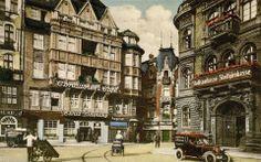 """Cukiernia i kawiarnia Ernsta Odersky'ego, około 1928 roku. Ta cukiernia jest tam, gdzie kiedyś była rest. Europejska. To jest na głównym rynku, który """"za Niemca"""" był krótszy.Między budynkami - Krawiecka. W miejscu budynku pośrodku były kiedyś tzw. małe delikatesy. Amalfi, Street View, Architecture, Ale, Arquitetura, Ale Beer, Architecture Design, Ales, Beer"""