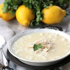 Avgolemono-Greek Lemon Chicken Soup.OMG I can eat an entire pot myself -my fave soup!