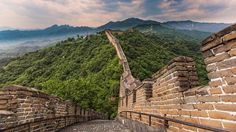 Great Wall of China with mountains in background