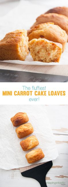 These are the fluffiest vegan Mini Carrot Cake Loaves I've ever had! They don't need any binders or egg-replacements - perfect as they are! Brownie Desserts, Oreo Dessert, Mini Desserts, Best Vegan Desserts, Coconut Dessert, Vegan Dessert Recipes, Vegan Treats, Delicious Desserts, Coconut Milk