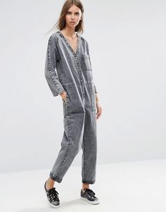 ASOS | ASOS Denim Workwear Jumpsuit in Mottled Black