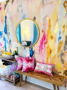 Large Scale Printed Abstract Mustard, Fuchsia, Navy, Removable wall mural tall x wide with gold leaf embellishment kit! Nursery Wall Murals, Wall Decals, Painted Wall Murals, Nursery Stickers, Nursery Room, Wall Mural Painting, Wall Sticker, Large Painting, Gold Wall Decal