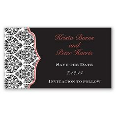 Announce your wedding date in fashionable style with this save the date magnet's bold damask pattern. Item Number DB66L4K #davidsbridal #invitations #blacktiewedding #weddings