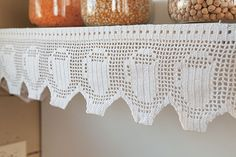 Shelf and Curtain Trim from Classic Kitchen Crochet