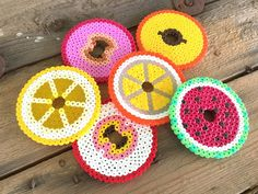 Fruit glas covers hama beads by globalhk Crafts To Do, Bead Crafts, Crafts For Kids, Arts And Crafts, Fuse Beads, Pearler Beads, Bead Kits, Perler Bead Art, Perler Patterns