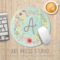 Monogrammed Floral Wreath Mousepad Poppies on by ArtPressStudio