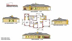 Samples of our House Plans 5 Bedroom House Plans, My House Plans, Family House Plans, Small House Plans, House Plans South Africa, Bungalow Floor Plans, Affordable House Plans, 2 Storey House Design, Beautiful House Plans
