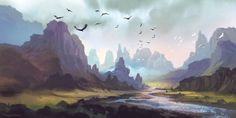Mountain Landscape by Ferdinand Dumago Ladera (A World of Fantasy) Fantasy Art Landscapes, Fantasy Landscape, Landscape Art, Landscape Paintings, Mountain Landscape Drawing, Concept Art World, Environment Concept Art, Environment Design, Fantasy Places