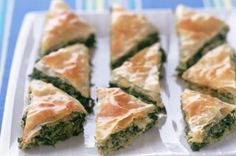 Spinach and cheese pie These mouth-watering triangles are prefect party food, with delicious filo pastry and the rich tangy taste of feta cheese