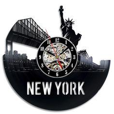 2017 New CD Vinyl Record Wall Clock Statue Of Liberty Souvenir Theme Wall Watch Modern City Art Horloge Murale Classic Decor Vinyl Record Clock, New Vinyl Records, Record Wall, New York Statue, Wall Watch, Retro Clock, How To Make Wall Clock, Best Gifts For Men, Modern City