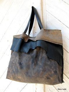 Black and Brown Hair On Acid Washed Cowhide Leather Tote Bag with Natural Edge Flap by Stacy Leigh Ready to Ship. $299.95, via Etsy.