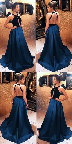 Long Black Velvet Hater Backless Prom Dresses 2018 Satin Evening Gowns