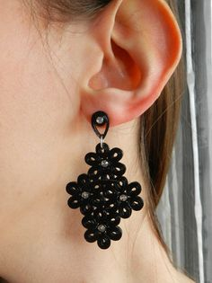 Black earrings, handmade quilled paper with Swarovsky strass, perfect gift for her