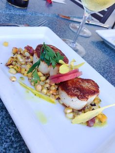 The Fishery Restaurant's Seared Scallops San Diego, California.