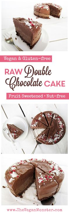 Raw Double Chocolate Cake. Vegan, Gluten-free, Nut-free, No Coconut, Sweetened with Fruits.