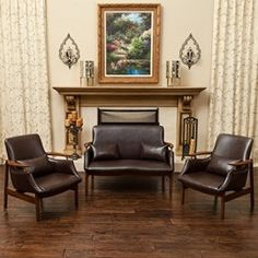 Coolidge Brown Leather Wood Frame Loveseat and Chair Set Sofa Material, Living Room Sets, Interior Design Inspiration, Design Ideas, Mid Century Design, Sectional Sofa, Sofas, Love Seat, Brown Leather