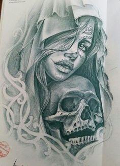 Shrink your URLs and get paid! Chicano Drawings, Chicano Tattoos, Body Art Tattoos, Girl Tattoos, Sleeve Tattoos, Angel Sleeve Tattoo, Skull Girl Tattoo, Sugar Skull Tattoos, Tatoo Art