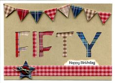 "Handmade Card. Male 50th birthday card using Docrafts ""Christmas in the Country"" tartan and checked papers."