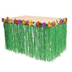 Hawaiian Green Grass Table Skirt Hibiscus Flower Border Plastic Tropical Fun Hula Summer Luau Party Decor with Green Tropical Leaves by on Etsy Aloha Party, Luau Theme Party, Hawaiian Luau Party, Hawaiian Birthday, Luau Birthday, Tiki Party, Birthday Parties, Hawaiin Theme Party, Hawaiin Party Ideas