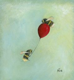 Neil Thompson's bee and wildlife art creations are often steeped in mystery and each painting has a narrative of its own. I Love Bees, Les Beatles, Printed Balloons, Bee Tattoo, Cute Bee, Bee Art, Bee Theme, Save The Bees, Bee Happy
