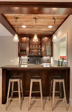A ceiling like this to tie into upstairs decor .. *** small basement bar - Google Search