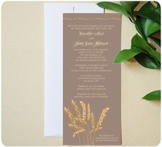 Urbanity Studios Wheat Themed Wedding Invitation