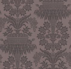 Long Gallery Aubergine (ZCDW08003) - Zoffany Wallpapers - A timeless damask of floral bouquets and streaming leaves in aubergine and dusty purple. Evoke opulence and elegance with this large-scale pattern repeat of 101.8cm. Additional colourways also available. Please order sample for true colour match.