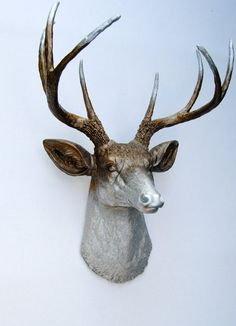 Ombre Deer Head Decor - Faded Metallic Bronze and Silver - Deer Head Antlers Faux Taxidermy Wall Mount $89.99