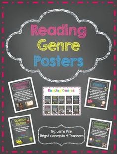 Reading Genre Posters: This set of posters is great to teach students about the different reading genres and help them select books of interest to them. Chalkboard and white background posters included $