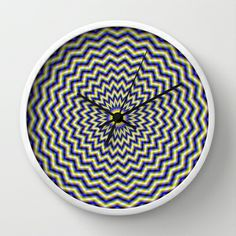 Blue and Yellow Zig Zag Rings Wall Clock by Objowl