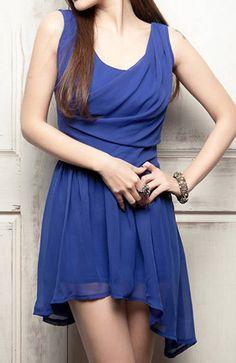 Chic Sleeveless Fold Asymmetrical Blue Chiffon Dress