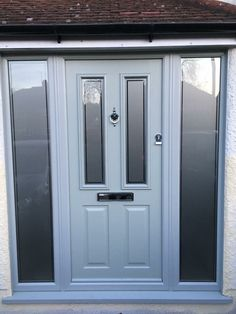 New Solidor in Painswick Green with side window. Colour matched frames. 02086444224 www.wrightglazing.co.uk Best Front Doors, Grey Front Doors, Front Door Porch, Beautiful Front Doors, Porch Doors, Front Porch Design, Modern Front Door, Exterior Front Doors, Painted Front Doors